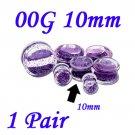 Pair 00G 10mm Double Flare Clear Acrylic Purple Liquid Glitter Saddle Plug