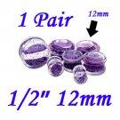 "Pair 1/2"" 12mm Double Flare Clear Acrylic Purple Liquid Glitter Saddle Plug"