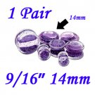 "Pair 9/16"" 14mm Double Flare Clear Acrylic Purple Liquid Glitter Saddle Plug"