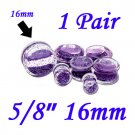 "Pair 5/8"" 16mm Double Flare Clear Acrylic Purple Liquid Glitter Saddle Plug"