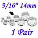 "Pair 9/16"" 14mm 316L Surgical Steel Screw Fit Tunnels Spider Web Design Ear Plugs Earlets Gauges"