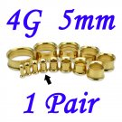Pair 4G 5mm Gold 316L Surgical Steel Double Flare Threaded Tunnels Ear Plugs Expanders Stretchers
