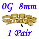 Pair 0G 8mm Gold 316L Surgical Steel Double Flare Threaded Tunnels Ear Plugs Expanders Stretchers