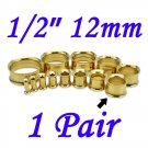 "Pair 1/2"" 12mm Gold 316L Surgical Steel Double Flare Threaded Tunnel Ear Plugs Expander Stretcher"