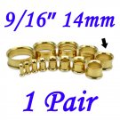 """Pair 9/16"""" 14mm Gold 316L Surgical Steel Double Flare Threaded Tunnel Ear Plugs Expander Stretcher"""