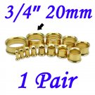 "Pair 3/4"" 20mm Gold 316L Surgical Steel Double Flare Threaded Tunnel Ear Plugs Expander Stretcher"