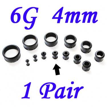 Pair 6G 4mm Black Single Flare 316L Surgical Steel Flesh Tunnels Ear Plug Expanders Gauges