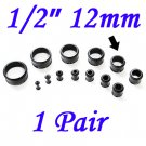 "Pair 1/2"" 12mm Black Single Flare 316L Surgical Steel Flesh Tunnels Ear Plug Expanders Gauges"