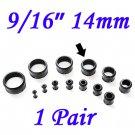 "Pair 9/16"" 14mm Black Single Flare 316L Surgical Steel Flesh Tunnels Ear Plug Expanders Gauges"