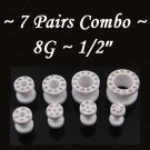 ~7 Pairs Combo~ White CZ Acrylic UV Fresh Tunnels / Earlet Ear Plugs Gauges Body Jewelry
