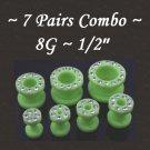 ~7 Pairs Combo~ Green CZ Acrylic UV Fresh Tunnels / Earlet Ear Plugs Gauges Body Jewelry