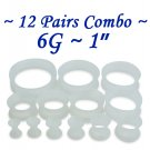 ~12 Pairs Combo~ Clear Soft Flexible Silicon Earskin Ear Tunnel Plugs Double Flared 4 to 25mm