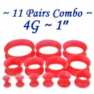~11 Pairs Combo~ Red Soft Flexible Silicon Earskin Ear Tunnel Plugs Double Flared 4 to 25mm