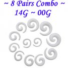 ~8 Pairs Combo~ White Acrylic Spiral Curved Taper Ear Stretcher Expander 14G~00G Piercing