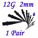 Pair 12G  2mm Black Acrylic Ear Tapers Stretchers Expanders Gauges