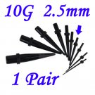 Pair 10G  2.5mm Black Acrylic Ear Tapers Stretchers Expanders Gauges