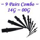 ~9 Pairs Combo~ Black Acrylic Ear Tapers Starter Kit Set Stretchers Gauges 1.6 ~10mm