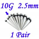 Pair 10G 2.5mm Solid 316L Surgical Steel Ear Tapers Stretchers Expanders Gauges