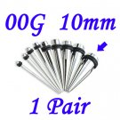 Pair 00G 10mm Solid 316L Surgical Steel Ear Tapers Stretchers Expanders Gauges
