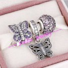 925 Sterling Silver SOCIAL BUTTERFLY Charms Gift Set - fits European Bracelets