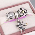 925 Sterling Silver VALENTINE CUPID'S ARROW Charms Gift Set - fits European Bracelets