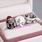 925 Sterling Silver SANTA'S SLEIGH Charms Gift Set - fits Biagi/Pandora/Troll/All European Bracelets