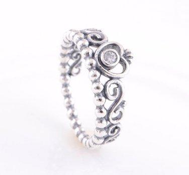 925 Sterling Silver My Princess Tiara w/ Clear CZ Ring - Size US 6,7,8,9