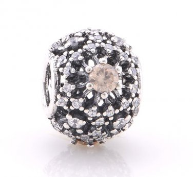 925 Sterling Silver Inner Radiance w/ CZ Abstract Pave Charm - fits European Beads Bracelets