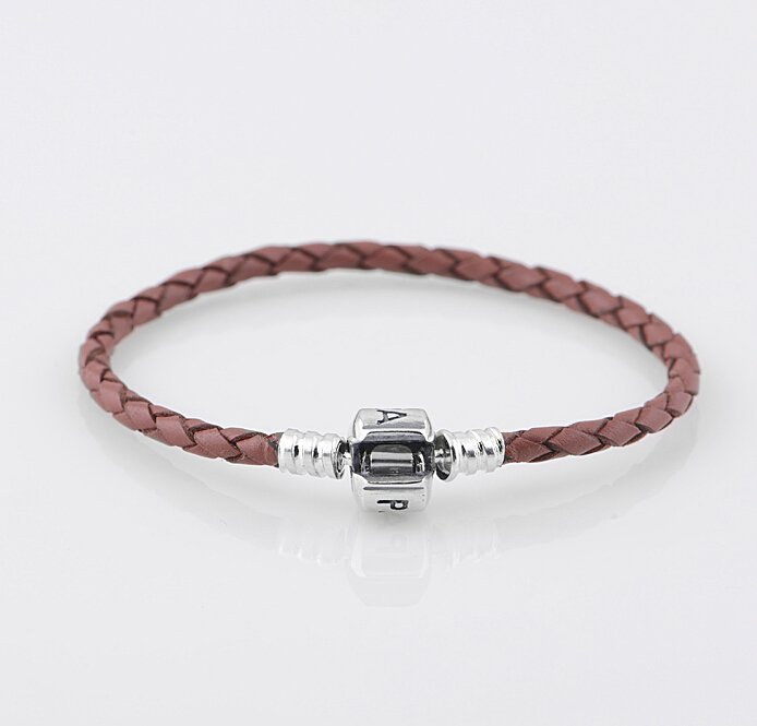 Sterling Silver Single Brown Woven Leather Beads Bracelet - fits European Beads Charms