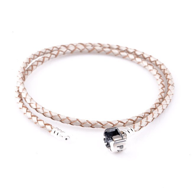 Double Pearl Color Woven Leather Bracelet w/ Sterling Silver Clasp fits European Beads Charms