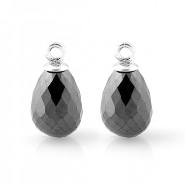Authentic 925 Sterling Silver Black Beauty Faceted Water Drop Earrings w/o Post