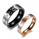 "Set of Fleur De Lis Stainless Steel Engraved ""Real Love"" Couple Promise Wedding Rings Band"