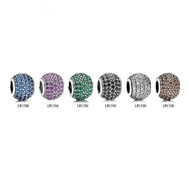 925 Sterling Silver 6 Pcs Sparkling Pave Zirconia Balls Charms Gift Set - fits European Bracelets