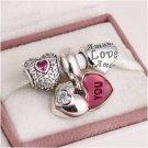925 Sterling Silver MI AMOR VALENTINE Charms Gift Set - fits European Bracelets