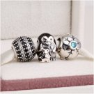 925 Sterling Silver SNOWY PENGUIN Charms Gift Set - fits European Bracelets