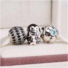 925 Sterling Silver SNOWY PENGUIN Charms Gift Set - fits European Bracelets