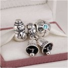 925 Sterling Silver FROSTY Charms Gift Set - fits European Bracelets
