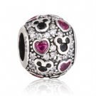 925 Sterling Silver Sparkling Mickey & Hearts Bead Charm