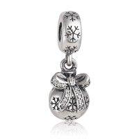 925 Sterling Silver Christmas Ornament w/ Clear CZ Pendant fits European Beads Bracelets