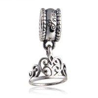925 Sterling Silver Snow White Tiara Silver Crown Dangle Pendant Charm