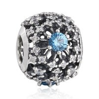 925 Sterling Silver Openwork Snowflake w/ Light Blue & Clear CZ Charm Bead