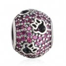 925 Sterling Silver Pave Red CZ Cut-Out Minnie Silhouettes Charm Bead