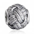 925 Sterling Silver Sparkling Love Knot Charm Bead