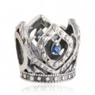 925 Sterling Silver Openwork Elsa Crown w/ Blue CZ Charm Bead
