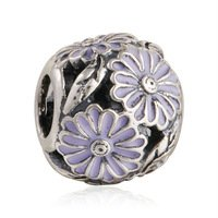 925 Sterling Silver Lavender Daisy Meadow Charm Bead