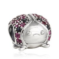 925 Sterling Silver Sparkling Ladybird w/ Red CZ & Black Crystal Charm Bead