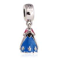 925 Sterling Silver Anna Dress w/ Blue, Pink & Black Enamel Dangle Pendant Charm