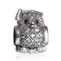 925 Sterling Silver Owl Graduate w/ Blue Crystal & CZ Charm Bead