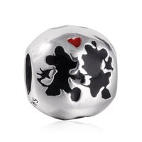 925 Sterling Silver Mickey & Minnie w/ Black & Red Enamel Charm Bead