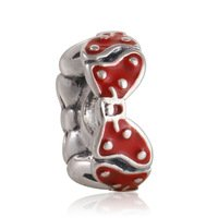 925 Sterling Silver Minnie Bow w/ Red Enamel Charm Bead